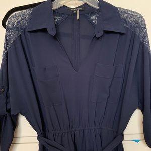 Dresses - Half sleeve navy dress with tie